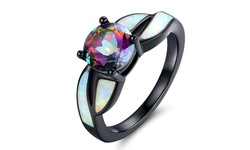 Black Rhodium White Opal & Mystic Topaz Ring - Size: 9