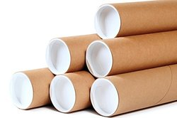"Premium Kraft Cardboard Mailing Tubes - 2"" x 6"" - 2"" Opening Diameter 6"" in Length - Case of 50 Shipping Tubes with White End Caps (2x6)"