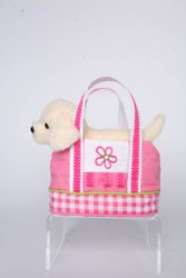 "Sassy Saks Pink Gingham Tote with Cream Lab 7"" by Douglas Cuddle Toys"
