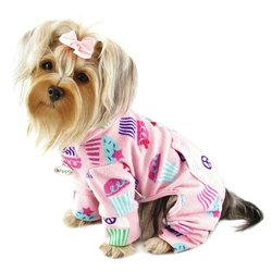 Peace Signs and Cupcakes Fleece Turtleneck Dog Pajamas/Bodysuit Sizes: X-Large