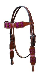 Turn-Two Browband Headstall - St. Gabriel - Size:Horse Color:Pink