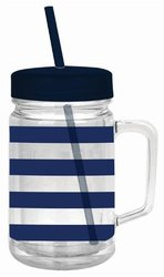 Slant - Preppy Navy Blue Stripe Double Wall Acrylic Mason Jar