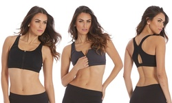 Marika Women's Tek Zip-Front Sports Bra - 2 Pack - Black/Iron - Sz: Large
