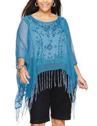 Energe Women's Plus-Size Felicity Fringe Poncho Top - Blue - Size: 2X