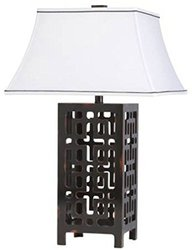 "Kichler 28"" Portable Table Lamp with Black Trim Soft Back Shade"