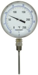 """Ashcroft Series EI Stainless Steel Case Bimetal Thermometers, 5"""" Dial Size, 1/2"""" NPT Lower Connection, 4"""" Stem Length, Dual Scale, 0/200 Degrees Fahrenheit"""