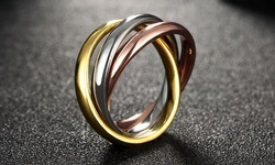 Stainless Steel Tri-Color Rolling Bands Ring - Size: 7