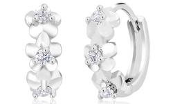 Sevil Women's Silver Cubic Zirconia Flower Hoop Earrings