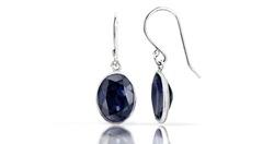 Direct-Jewelry Women's 3CT Sterling Silver Sapphire Oval Dangle Earrings