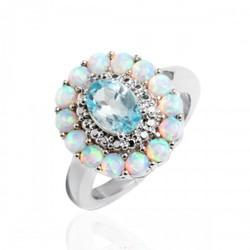 Sevil Women's 18K WG Diamond Flower Ring - White Opal/Blue Topaz - Size: 5