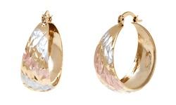 Sevil Women's 18K Gold Plated Tri Gold Diamond Cut Hoop Earrings - Gold