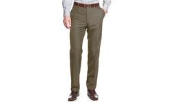 Pronto Men's Uomo Sharkskin Slim Fit Dress Pants - Taupe - Size: 34-30