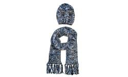 Jessica Simpson Hat and Oblong Scarf Set - Blue/Black