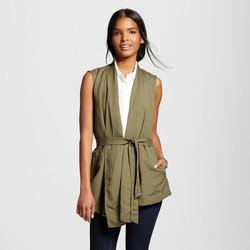 Www Fashion M Paris Women's Belted Vest - Solid Green - Size: Medium