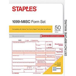 50 Count Pack of Staples 2015 IRS Tax W-2 6-Part Form Sets