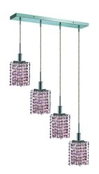 "Mini 8"" High 4-Light Chrome Finish Chandelier - Rosaline Pink"