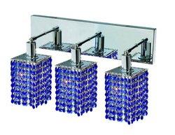 "Mini 8"" High 3-Light Royal Cut RC Crystal Wall Sconce - Sapphire Blue"