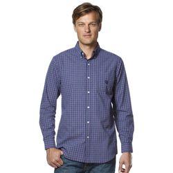Men's Chaps Plaid Easy-Care Poplin Shirt - Vista Purple - Size: Large