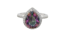 Pear Shaped Mystic Topaz Ring in Sterling Silver - Size: 5