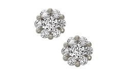 Rubique 18K Women's Micropave Swarovski Stud Earrings - White Gold Silver