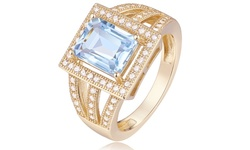 18kt Gold Tone Square 4 Carat Blue and White Topaz Ring