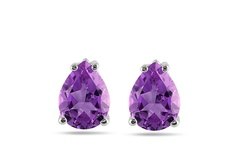 8.00 CTW Genuine Pear-Cut African Amethyst Stud Earrings