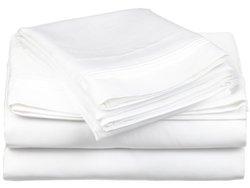 650TC 100  Cotton Solid King 4PC Sheet Set  White