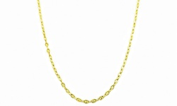 Sterling Silver 14K Diamond Cut Valentino Star Chain - Gold - Size: 24""