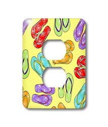 3dRose Colorful Flip Flop Print Yellow Background 2 Plug Outlet Cover