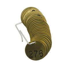 "Brady 1/2"" Numbers 276-300 Legend Blank Stamped Brass Valve Tags - 25-Pack"
