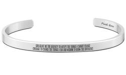 Pink Box Unisex 8mm Stainless Steel Serenity Prayer Bracelet - English