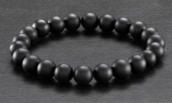 Men's Natural Healing Stone Stretch Bracelet - Oynx