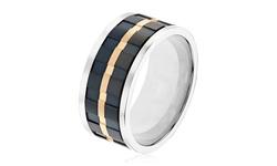 Titanium Men's Tri Tone Comfort Fit Ring - Black & Gold - Size: 10mm