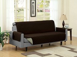 Kashi Home Reversible Furniture Protector with Strap for Sofa, Camel/Brown