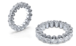 4.00 CTTW Cubic Zirconia Eternity Ring in 18K White Gold Plating - Size: 6