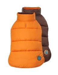 """Fab Dog 20"""" L Reversible Puffer Vest Jacket - Orange/Brown"""