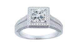 Swarovski Women's Two Row Princess Cut Halo Engagement Ring - Size: 7