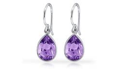 3.00 CTTW Genuine Amethyst Pear Drop Earrings - Purple