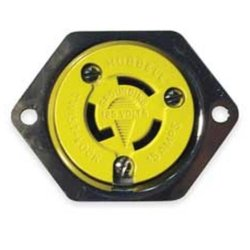 Hubbell Wiring Straight & Twist-Lock Locking Duplex Receptacle - Brown