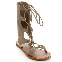 Betani FA56 Women's Lace Up Boots Style Cut Out Gladiator Flat Sandals, Color:TAUPE, Size:10