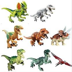 "OliaDesign ABS 3"" Jurassic World Minifigures Jurassic Park Dinosaur Building Blocks (8 Piece)"