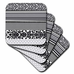 3dRose cst_112855_2 Black and White Stylish Pattern with Damask Houndstooth Stripes and Polka Dots Gray Classy Modern Soft Coasters, Set of 8