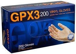 Ammex GPX3D Vinyl Glove, Latex Free, Disposable, 3 mil Thickness, Powder Free, Medium, GPX3D44100-BX (Box of 200)