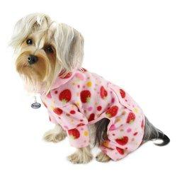 Yummy Strawberries Fleece Turtleneck Dog Pajamas / Bodysuit Size: X-Lage