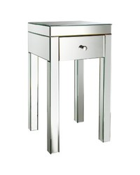 """Threshold Mirrored Glass Accent Table with Drawer - Size: 25"""""""