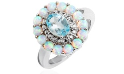 Ava 18K Gold Plated Women's Flower Ring -White Opal Blue Topaz - Size: 6mm