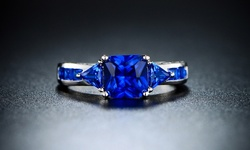 18K White Gold Plating 4.00 CTTW Sapphire Ring - Size: 5
