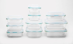 Wexley Glass Food Storage Container Set 20 Pcs - Blue