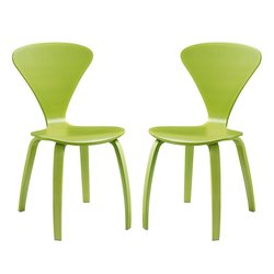 LexMod Set of 2 Vortex Dining Chairs - Green