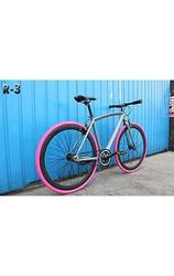 Caraci Steel Frame Fixed Gear Bike - Grey/Pink - Size: 48cm